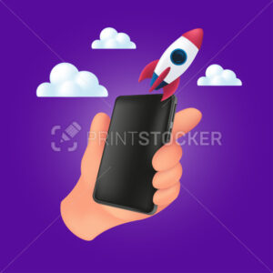 Human hand holding a smartphone with a flying rocket on the clouds. 3d vector illustration of startup concept with mobile device and empty black screen isolated on a violet background - PrintStocker.com