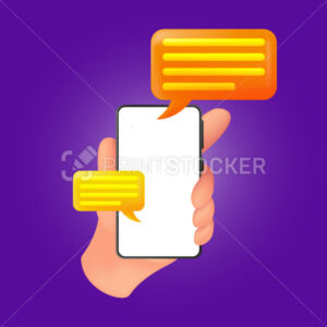 Human hand holding a smartphone with a white screen and speech bubbles. Vector illustration of mobile device with an empty display and sms clouds isolated on a violet background - PrintStocker.com