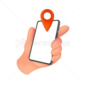 Human hand holding smartphone with a white screen and red location marker. Vector illustration of mobile device with an empty display isolated on a white background - PrintStocker.com