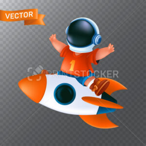 Little kid in astronaut's helmet ride on a flying rocket. Vector illustration of a happy boy with a spaceship isolated on a transparent background - PrintStocker.com
