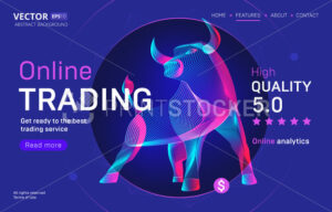 Online trading business service landing page template with a high-quality rating. Abstract outlined vector illustration of a bull or bison silhouette in 3d neon line art style - PrintStocker.com