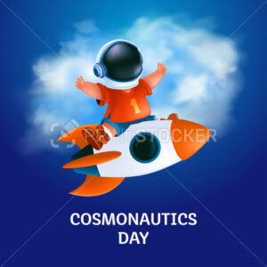 Poster or greeting card to 12 April – International Cosmonautics Day. The first human space flight. Vector illustration of kid astronaut in a helmet on the flying rocket on blue and cloudy background - PrintStocker.com