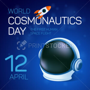 Poster or greeting card to 12 April – International Cosmonautics Day. The first human space flight. Vector illustration with the astronaut's helmet and flying rocket or shuttle on the blue background - PrintStocker.com