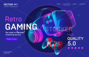 Retro gaming streaming service landing page template with VR helmet and gamepad. Outline vector illustration of headset and joystick in 3d neon line art style on abstract background - PrintStocker.com