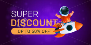 Super discount banner. Little kid in astronaut's helmet ride on a flying rocket. Vector illustration of a happy boy with a spaceship on abstract background - PrintStocker.com