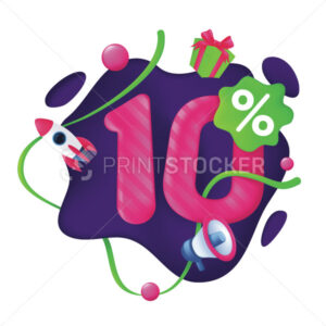 10 Percent Discount Price Tag. 10% Special Offer Promotion Label. Sale badge with advertising symbols on abstract wavy background. 3d vector illustration isolated on a white - PrintStocker.com