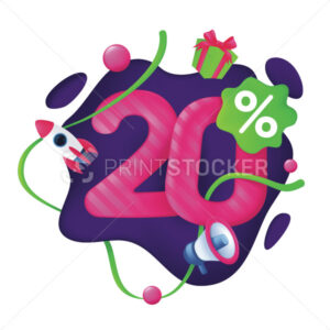 20 Percent Discount Price Tag. 20% Special Offer Promotion Label. Sale badge with advertising symbols on abstract wavy background. 3d vector illustration isolated on a white - PrintStocker.com