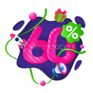 60 Percent Discount Price Tag. 60% Special Offer Promotion Label. Sale badge with advertising symbols on abstract wavy background. 3d vector illustration isolated on a white - PrintStocker.com