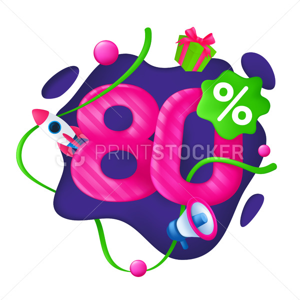 80 Percent Discount Price Tag. 80% Special Offer Promotion Label. Sale badge with advertising symbols on abstract wavy background. 3d vector illustration isolated on a white - PrintStocker.com