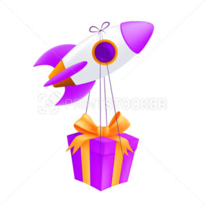 A flying rocket delivering gift box. Vector illustration of a pink spaceship with the wrapped box express delivery concept isolated on a white background - PrintStocker.com