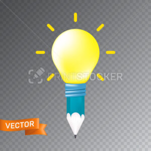 Concept design of an idea or inspiration icon. Vector illustration of a pencil and yellow light bulb isolated on a transparent background - PrintStocker.com