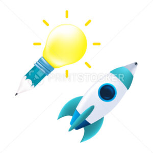 Concept design of an idea or inspiration icon. Vector illustration of a pencil, yellow light bulb, and a pen in the form of a rocket isolated on a white background - PrintStocker.com