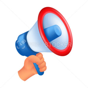 Human hand holding a loudspeaker. 3D cartoon vector illustration of a male hand with a megaphone isolated on a white background - PrintStocker.com