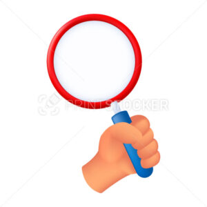 Human hand holding a magnifying glass. 3D cartoon vector illustration of a male hand with a loupe isolated on a white background - PrintStocker.com