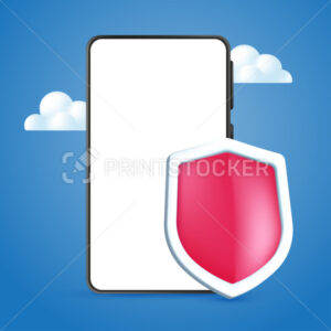 Mobile phone cybersecurity service design concept with an empty white screen. Realistic 3D vector illustration of mobile phone with guardian shield on a blue sky background - PrintStocker.com