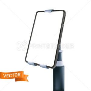 Mobile phone with a white display fixed on the holder with the part of handle stick. Vector illustration of a smartphone with an empty screen isolated on a white background - PrintStocker.com