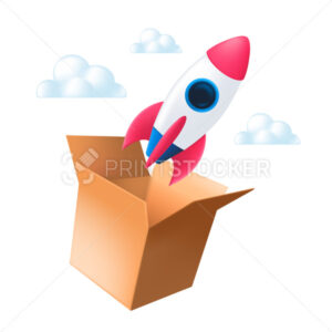 The rocket flies out of an open cardboard box into the clouds. Vector illustration of the think outside the box concept isolated on a white background - PrintStocker.com