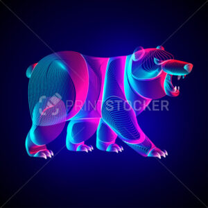 Bear silhouette. Outline vector illustration of standing polar or arctic animal – symbol of traders on the cryptocurrency market exchange. Neon glowing abstract wild grizzly in line art style - PrintStocker.com