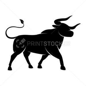 Black Silhouette of a standing Bull icon – symbol of the year in the Chinese zodiac calendar. Vector illustration of a monochrome Bison or an Ox logo isolated on a white background - PrintStocker.com