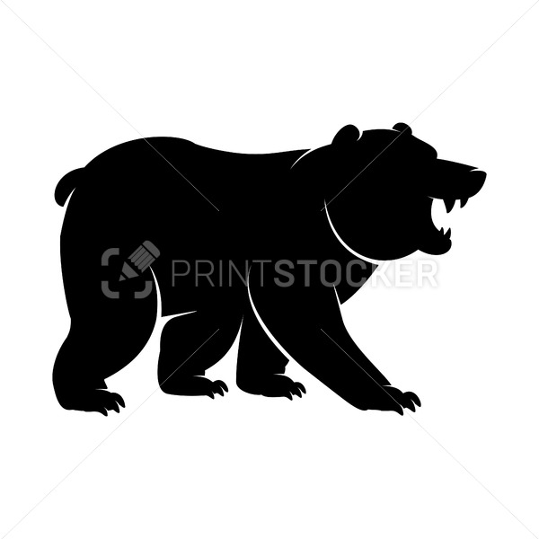 Black Silhouette of a standing and roaring Bear icon. Vector illustration of an angry monochrome arctic animal, polar bear or Grizzly logo with big clawed paws isolated on a white background - PrintStocker.com