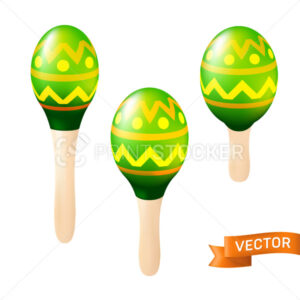 Colorful wooden maracas set. Mexican or Spanish traditional instruments isolated on a white background. Vector illustration - PrintStocker.com