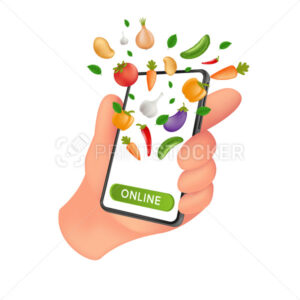 Fresh Farm grocery market. Food service online order and Delivery. Human hand holding a mobile smartphone with natural vegetables on the screen. Vector illustration isolated on a white background - PrintStocker.com
