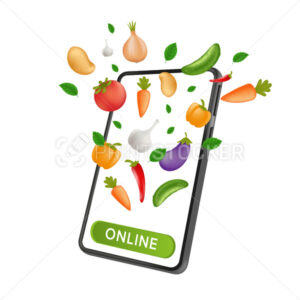 Fresh Farm grocery market. Food service online order and Delivery. Mobile smartphone with natural vegetables and a click button on the screen. Vector illustration isolated on a white background - PrintStocker.com
