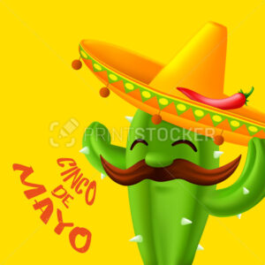 Mexican cactus with mustaches in a sombrero hat with red chili pepper on it. Funny cartoon character isolated on a yellow background. Vector illustration to 5th of May Cinco de Mayo holiday - PrintStocker.com