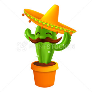 Mexican cactus with mustaches in a sombrero hat. Funny cartoon character isolated on white background. Vector illustration to 5th of May Cinco de Mayo holiday - PrintStocker.com
