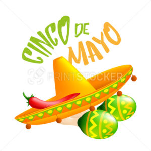 Mexican traditional sombrero hat with red chili pepper on it and green maracas. Vector illustration to 5th of May Cinco de Mayo holiday isolated on a white background - PrintStocker.com