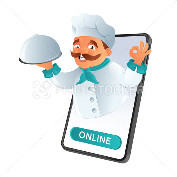 Online food ordering and delivery. Mustachioed chef of the restaurant looking out of phone, holding the dish and showing the OK sign. Vector illustration isolated on a white background - PrintStocker.com