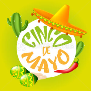 Round frame consists of vector elements and icons to 5th of May Cinco de Mayo holiday – Mexican cactus, sombrero hat, red chili pepper, maracas. Cartoon illustration isolated on a white - PrintStocker.com