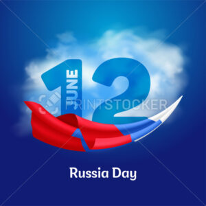 Russia national day banner or greeting card. Russian waving flag to the independence day of Russia – June 12. Vector illustration - PrintStocker.com