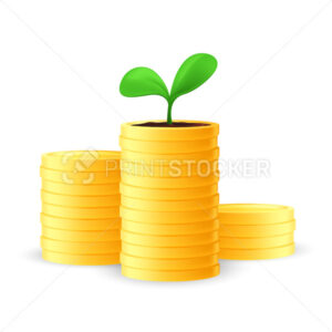 Stack of golden coins with a seedling or growing young green plant on top. Business investment and saving money concept. Vector illustration of financial growth isolated on a white background - PrintStocker.com