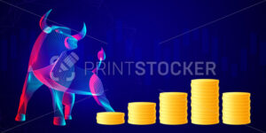 Stack of golden coins with abstract silhouette of a bull. Business investment, trading and saving money concept. Vector neon line art illustration of financial growth and dividends in bullish market - PrintStocker.com