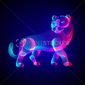 Tiger silhouette. Outline vector illustration of standing tigress – symbol of the year in the Chinese zodiac calendar. Stylized wild animal in 3d line art style on glowing neon abstract background - PrintStocker.com