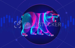 Trading and finance investment strategy concept with abstract bearish silhouette and candlestick chart on a background. Vector illustration of a standing neon bear with growing stock market diagram - PrintStocker.com