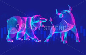 Trading and finance investment strategy concept with abstract bullish and bearish silhouettes with candlestick chart. Vector illustration of confronting neon bull and bear with growing market diagram - PrintStocker.com