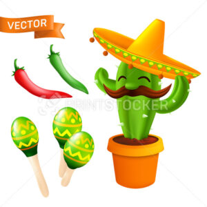 Vector set of elements and icons to 5th of May Cinco de Mayo holiday – Mexican cactus with mustaches in a sombrero hat, red and green chili peppers, maracas. Cartoon illustration isolated on a white - PrintStocker.com
