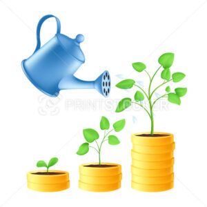 Watering can pours water on a stack of gold coins. Business investment and saving money concept with green plant growth stages. Vector illustration of financial growth isolated on a white background - PrintStocker.com