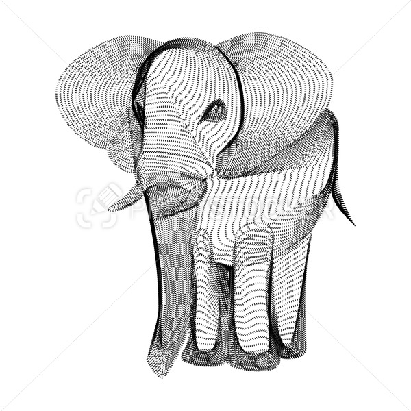 Elephant silhouette consisting of black dots and particles. 3D vector wireframe of indian animal with grain texture. Abstract geometric icon with dotted structure. Front view of walking circus mammal - PrintStocker.com