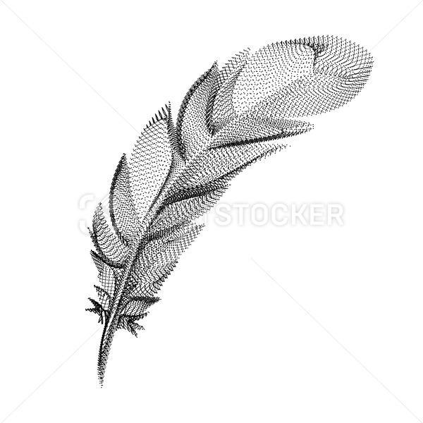 Feather silhouette consisting of black dots and particles. 3D vector wireframe of a bird plumage with a grain texture. Abstract geometric icon with dotted structure isolated on a white background - PrintStocker.com