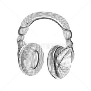 Headphones silhouette consisting of black dots and particles. 3D vector wireframe of an audio device with a grain texture. Abstract geometric icon with dotted structure isolated on a white background - PrintStocker.com
