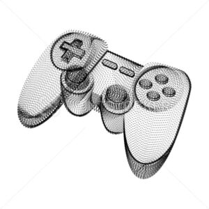Joystick silhouette consisting of black dots and particles. 3D vector wireframe of a gamepad controller device with a grain texture. Abstract geometric icon with dotted structure isolated on white - PrintStocker.com