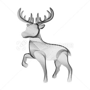 Reindeer silhouette consisting of black dots and particles. 3D vector wireframe of horned deer with a grain texture. Abstract geometric icon with dotted structure isolated on a white background - PrintStocker.com