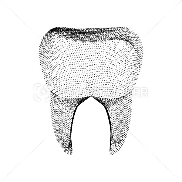 Tooth silhouette consisting of black dots and particles. 3D vector wireframe of a molar dent with a grain texture. Abstract geometric dental icon with dotted structure isolated on a white background - PrintStocker.com