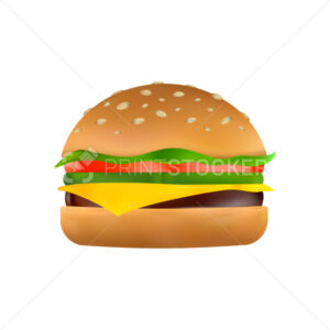 Cheeseburger with a slice of cheese, pickles, tomato, beef patty, lettuce and toasted sesame bun. Classic burger icon. Cartoon vector illustration of American hamburger isolated on a white background - PrintStocker.com