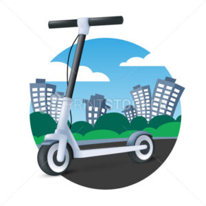 Electric kick scooter riding on cityscape background. Modern vehicle icon. 3D cartoon vector illustration of an eco transport - PrintStocker.com