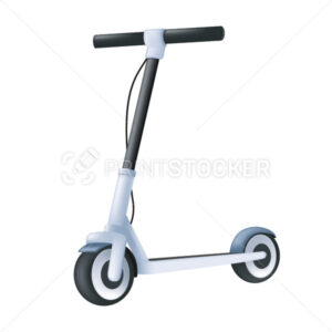 Electric kick scooter. Modern vehicle 3d icon. Cartoon vector illustration of an eco transport isolated on a white background - PrintStocker.com