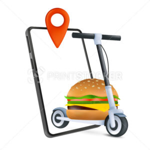 Fast food home delivery concept with an electric kick scooter, phone and classic burger. A modern way of delivering. 3d icon. Cartoon vector illustration of online order isolated on a white background - PrintStocker.com